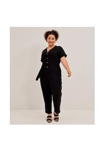 Macacão Longo Sem Estampa Com Botões Curve & Plus Size   Ashua Curve E Plus Size   Preto   Eg