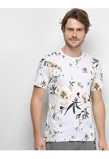 Camiseta All Free Floral Masculina - Masculino-Branco