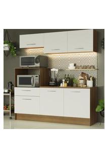 Cozinha Compacta Madesa Onix 180001 Com Armário E Balcáo - Rustic/Branco Marrom