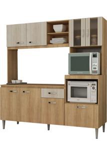 Cozinha Compacta Tati C/ Tampo Carvalho/Blanche Fellicci Móveis Marrom