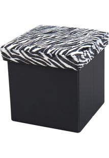 Puff Dobrável Com Baú Mk-001-Marka Móveis - Zebra