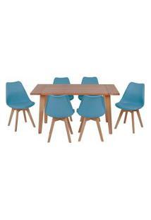 Conjunto Mesa De Jantar Em Madeira 150X80 Vértice + 6 Cadeiras Leda - Turquesa