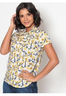 Blusa Abstrata Com Amarração- Branca Amarela- Vip Vip Reserva