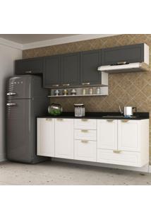 Cozinha Completa 7 Peças Americana Multimóveis 5668S Branco/Grafite