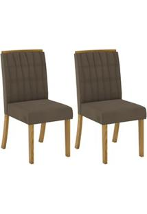 Kit 2 Cadeiras Estofadas Para Sala De Jantar Tauá Nature/Bege - Henn