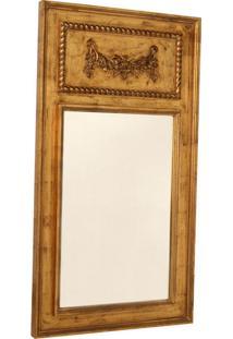 Espelho Decorativo Clássico Amboise De Parede Com Moldura De Madeira Dourada