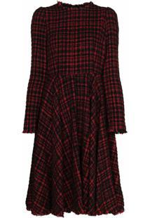 Dolce & Gabbana Vestido Midi De Tweed Com Pregas - Vermelho
