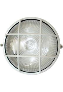 Arandela Tartaruga Circular 18Cm Alumínio E-27 1 Lâmpada Max 60W Com Grade Branca