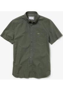 Camisa Lacoste Regular Fit Masculina - Masculino-Verde Militar+Preto