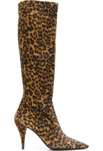 Saint Laurent Bota No Joelho Animal Print - Marrom