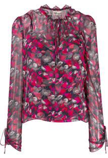 Diane Von Furstenberg Blusa Lilian Com Estampa Floral - Vermelho