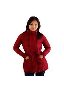 Casaco Trench Coat Acolchoado Feminino Inverno Vermelho Escuro