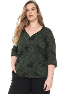 Blusa Cativa Plus Floral Verde/Preta
