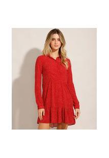 Vestido Curto Em Viscose Estampado De Poá Manga Longa Vermelho