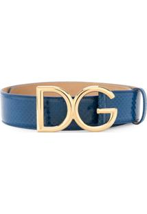 Dolce & Gabbana Cinto De Pele De Cobra Com Logo - Azul