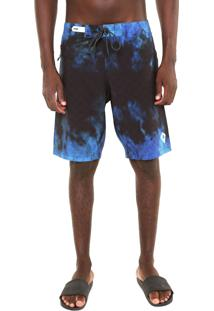 Bermuda Água Mcd Reta Tie Dye Azul/Preta