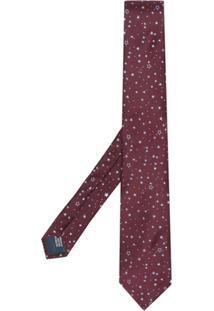Lanvin Gravata Estrelada De Seda - Vermelho