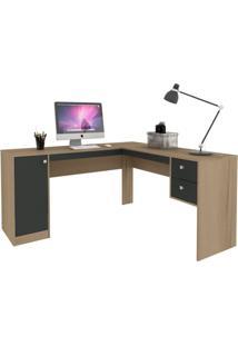 Mesa De Escritório Em L Home Office 1 Pt 2 Gv Avelã E Ônix