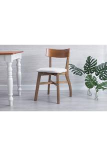 Cadeira De Jantar De Madeira Estofada Bella - Amêndoa E Cinza Claro Tec. B200 - 44X51X82 Cm