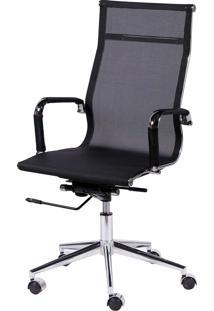 Cadeira Office Eames Tela Alta Giratória Preto Or Design