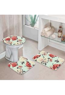 Jogo Tapetes Para Banheiro Floral Maxi - Único
