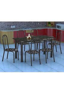 Conjunto De Mesa Granada Com 6 Cadeiras Madri Preto Floral Gr
