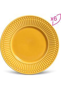 Jogo De Pratos Para Sobremesa Roma- Amarelo- 6Pçs