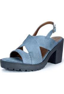 Sandália Salto Alto Sidewalk Camurça Jeans Feminina - Feminino-Azul