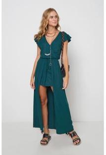 Vestido Oh,Boy! Abertura Frontal Feminino - Feminino-Verde