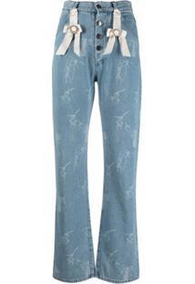 Seen Users Calça Jeans Cintura Alta Com Estampa E Detalhe De Laço - Azul