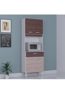 Cozinha Compacta 4 Portas 1 Gaveta Kit Cássia 6175 Amêndoa/Capuccino - Poquema