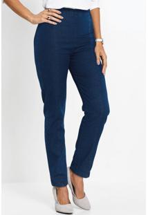 Calça Skinny Jeans Com Recortes Azul Médio