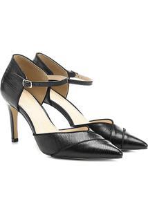 Scarpin Couro Shoestock Salto Alto Bico Fino Semi Aberto Lizard - Feminino-Preto