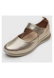 Sapatilha Usaflex Conforto Dourado