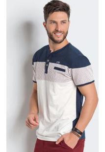 Camiseta Marinho E Off White Detalhe Listrado