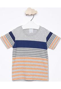 Camiseta Mescla Listrada - Cinza & Laranja - Malwee Malwee