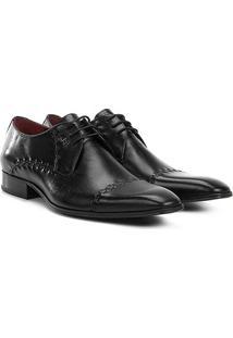 Sapato Social Couro Jorge Bischoff Pespontos - Masculino-Preto