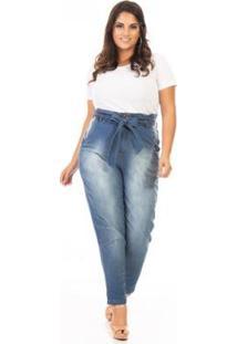 Calça Jeans Plus Size Clochard Feminina - Feminino-Azul
