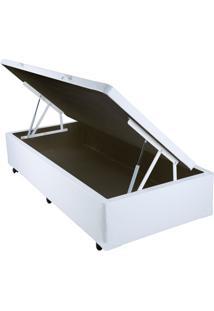 Cama Box Solteiro Com Baú Sonnoforte Corino Branco Com Pistão - 088X188