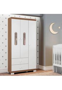 Guarda Roupa Infantil Sonhos 3 Portas Branco/Almendra Móveis Estrela