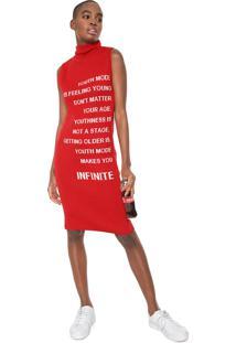 Vestido Coca-Cola Jeans Midi Tricot Lettering Vermelho