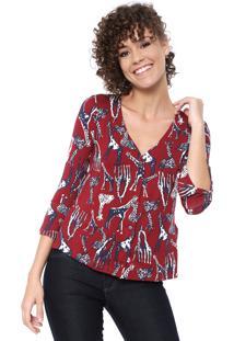 Blusa Maria Filó Girafas Vermelha