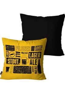 Kit Com 2 Capas Para Almofadas Pump Up Decorativas Preto Beer Lager 45X45Cm
