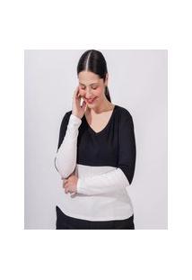 Blusa Almaria Plus Size Miss Taylor Ml Bicolor Branco