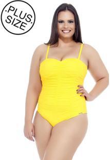 Maiô Lehona Drapeado Amarelo