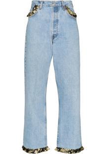 Rentrayage Calça Jeans Elise Com Babados - Azul