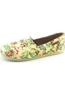 Alpargata Quality Shoes Floral Feminina - Feminino-Amarelo