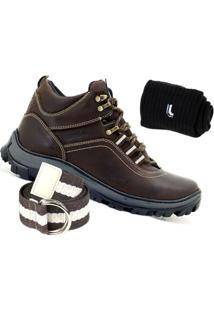 Kit Bota Adventure Atron Shoes Couro + Cinto E Meia Lupo - Masculino
