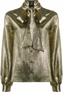 Saint Laurent Blusa Metálica Com Laço Na Gola - Dourado