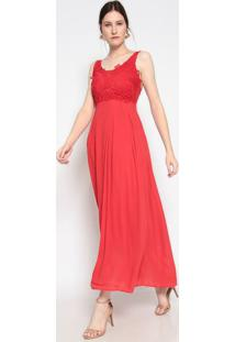 Vestido Longo Com Renda- Vermelho- Le Fixle Fix